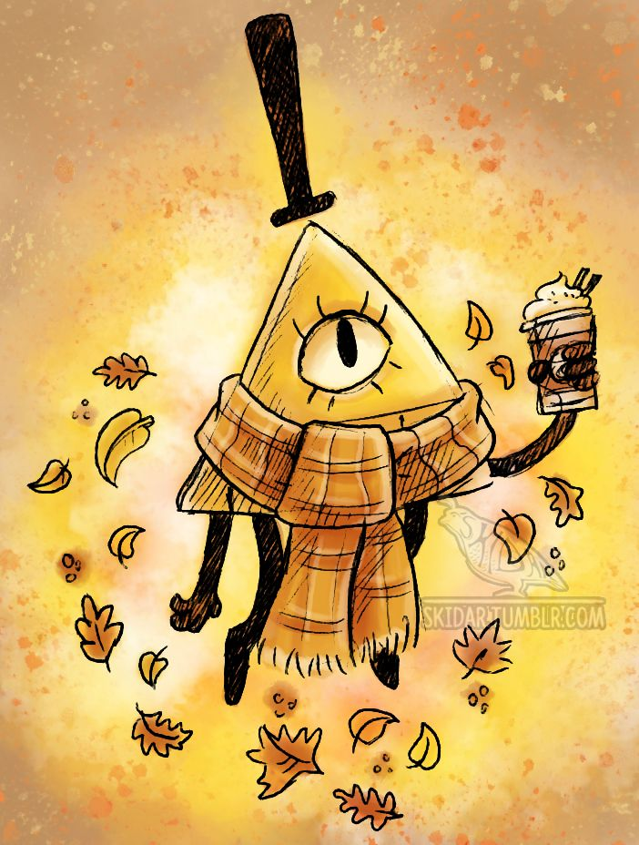 Bill with a scarf and a coffee. It's so weird, but it's cute.