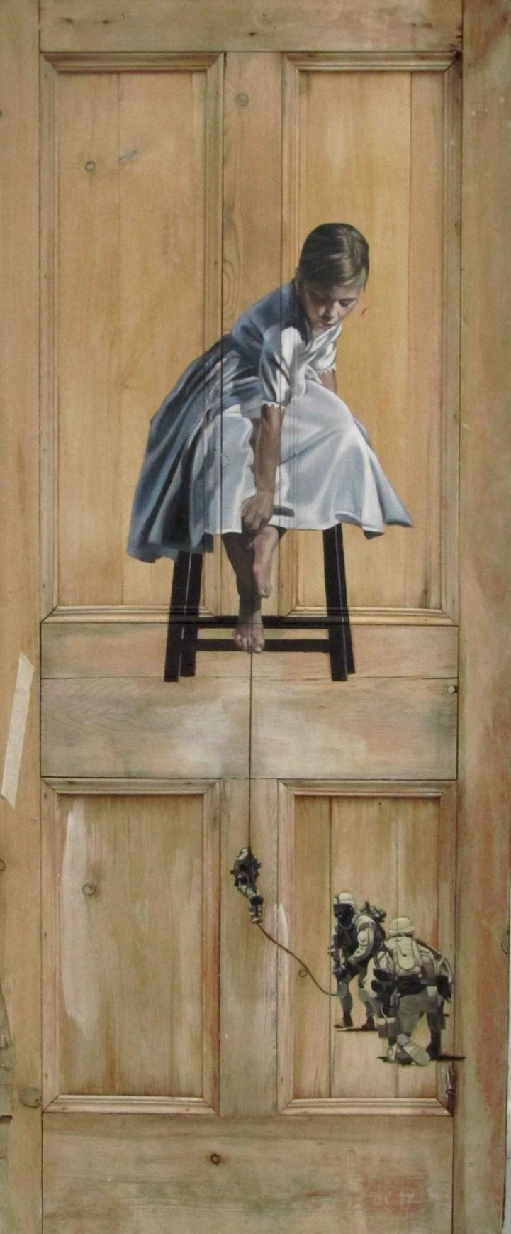 """The latest exhibition of Peter Hawkins is a series of paintings on doors. The work of the painter can be seen in The Outsiders Gallery in London from 26 April . """"The doors contain many meanings and not just transitive points in our lives . They have an inherent sense of nostalgia. As a children's writer CS Lewis well knew , is persuasive suggestion of what might be behind them , """"said the artist."""