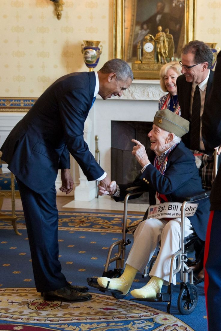"""The excitement in his face says it all. Bill Mohr, 108 years old (not a typo), was the oldest living World War II veteran when he met President Obama after a Veterans Day breakfast at the White House. Bill passed away a couple of weeks ago and his family released a statement including this sentence: 'Meeting a sitting President was the fulfillment of a lifelong dream for our father, who was a true patriot.'"""