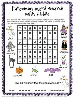 Here is a Halloween Word Search with a difference - Find the words then work out the answer to the riddle. $ from Halloween Literacy Puzzles and Games