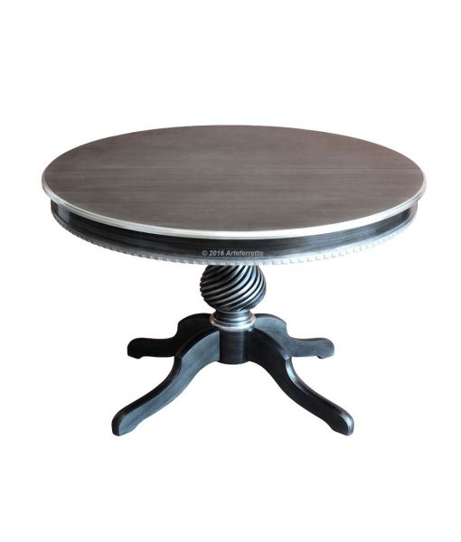 www.italian-style.co.uk/wp/product/1312-black-s-elegant-round-table-black-and-silver/  Elegant round table in beech wood. Black and silver lacquer. Sku 1312_black-s. Elegant round table black and silver with a diameter of 120 cm and extendable up to 160 cm A great style table of superior quality.