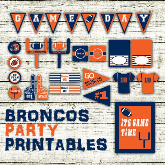 Broncos Football Party Printables and by OldMarketCorner on Etsy