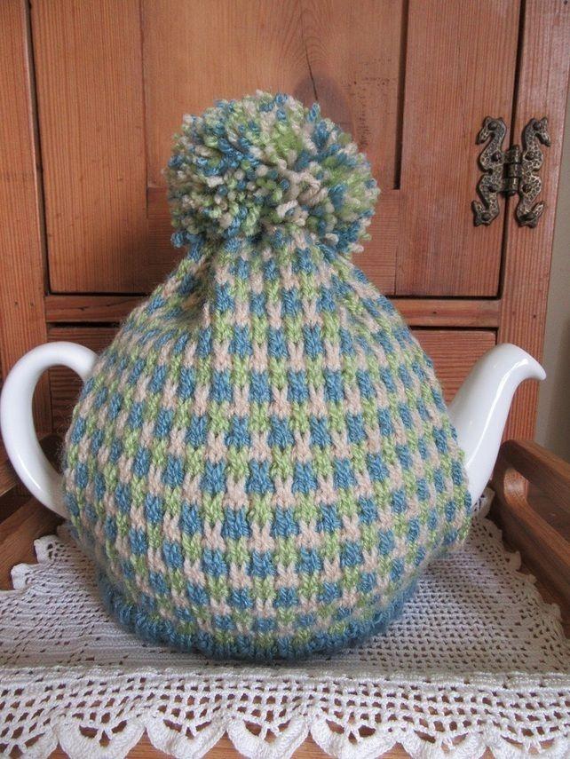 Hand knitted summer tweed tea cosie £18.00