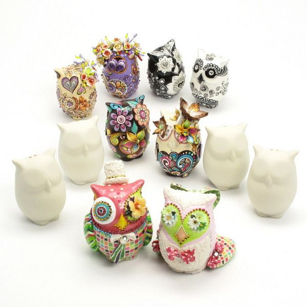 Ceramic Owl Cake Toppers
