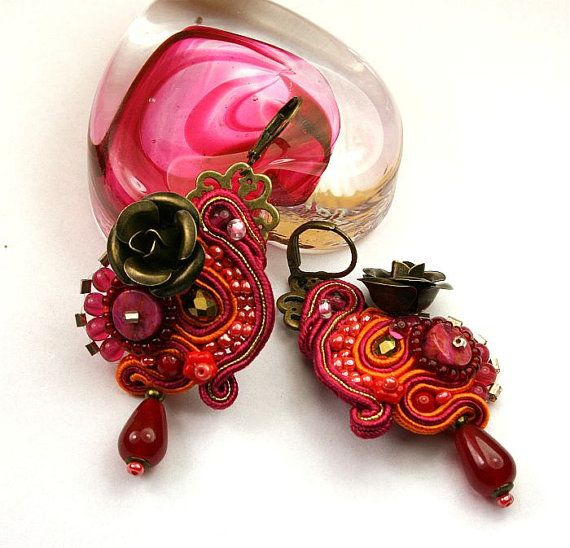 Oriental earrings soutache braid autumn