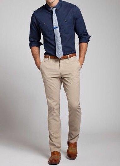 Khaki pants, blue shirt. Just great.                                                                                                                                                      More