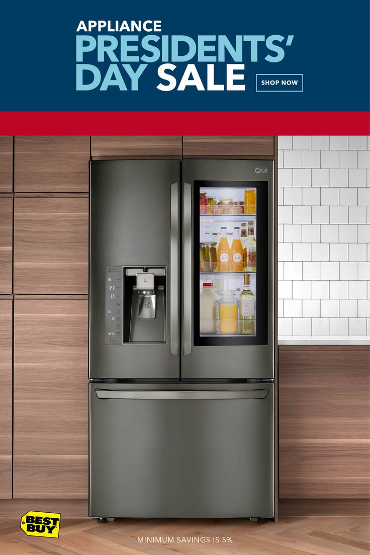 Get up to 35% off Appliance Top Deals, like this LG Refrigerator with InstaView Panel. Knock twice and the LED lighting will illuminate the fridge for a look inside without opening the door. The Door-in-Door feature makes it easy to grab your favorites when you're on the move. From drinks to condiments to snacks - there's space for everyone's top picks.