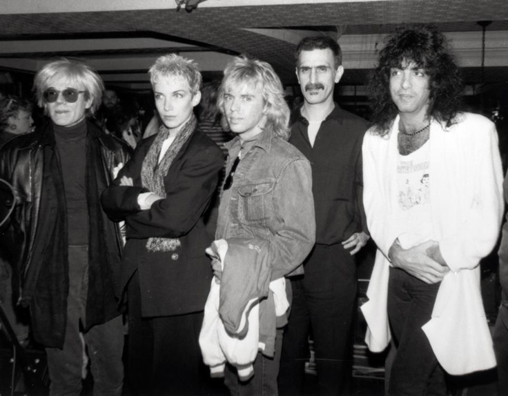 Andy Warhol, Annie Lennox, Tommy Shaw, Frank Zappa and Paul Stanley hanging  out at the NYC Hard Rock in the