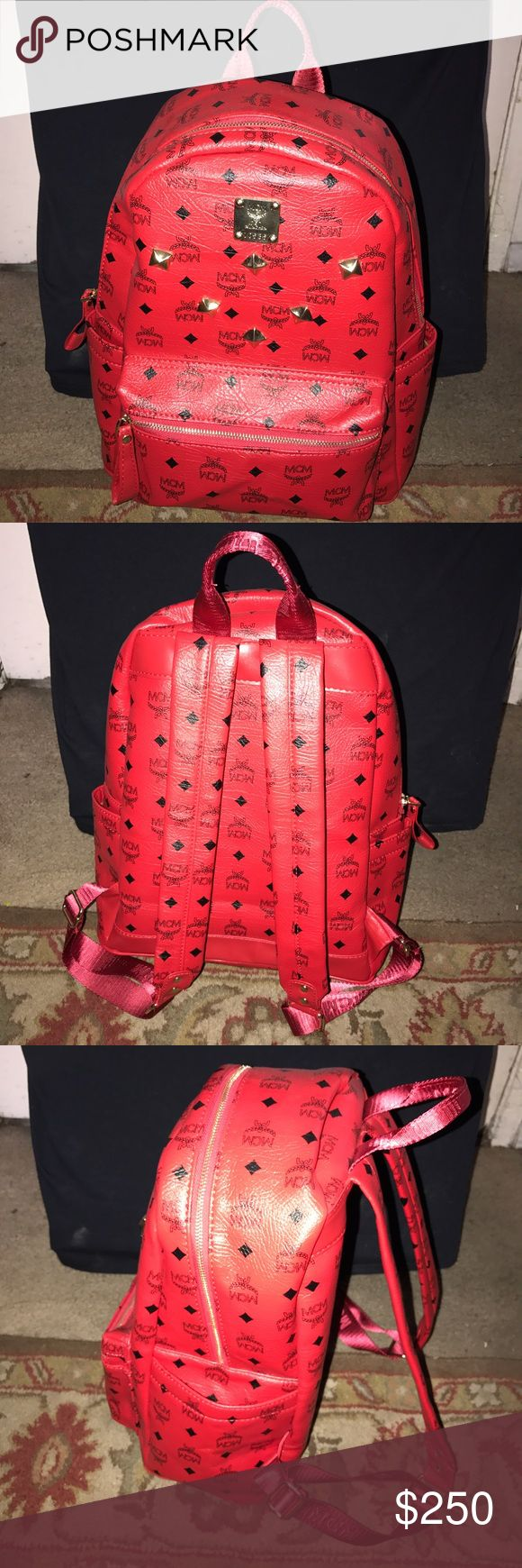 MCM BACKPACK Lightly worn  Red leather  No scratches or scuffs Size large MCM Bags Backpacks