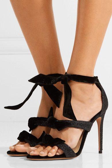 462fdb7627f ALEXANDRE BIRMAN Mary glamorous bow-embellished gunmetal Lurex and velvet  sandals