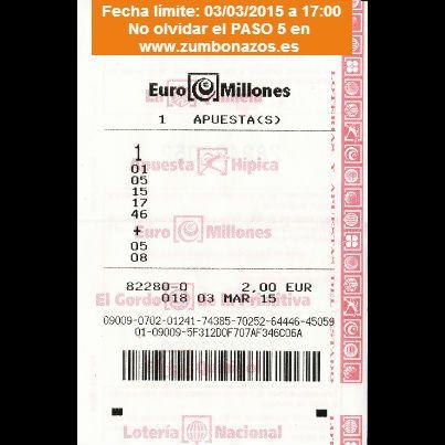 Juega gratis con Zumbonazos a los Euromillones del 03/03/2015. Y participa en muchos más sorteos en www.zumbonazos.es y nuestra página de Facebook.
