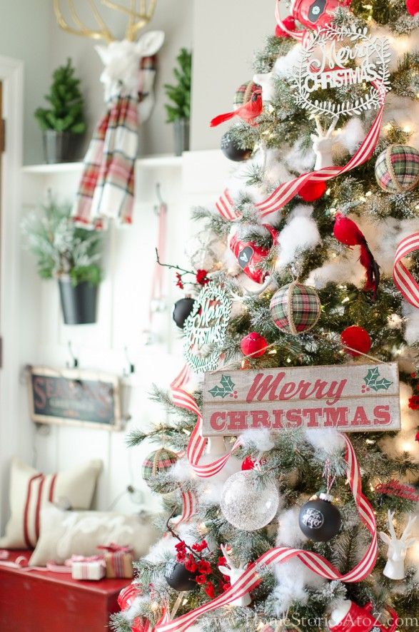 Frosted Sugar Pine Tree decorated with red and white ornaments, plum blossom picks, handmade accents and some polyfill batting for a magical wintry look. @HomeStoriesAtoZ
