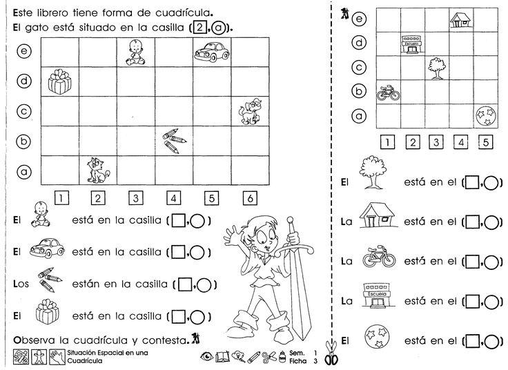 Ficha de aplicación sobre el tema: Situación espacial en una cuadrícula para trabajar con niños de 3er grado de educación primaria.