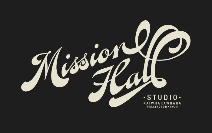 Mission Hall – Studio script graphic. Custom graphic from Fan Script the typeface.