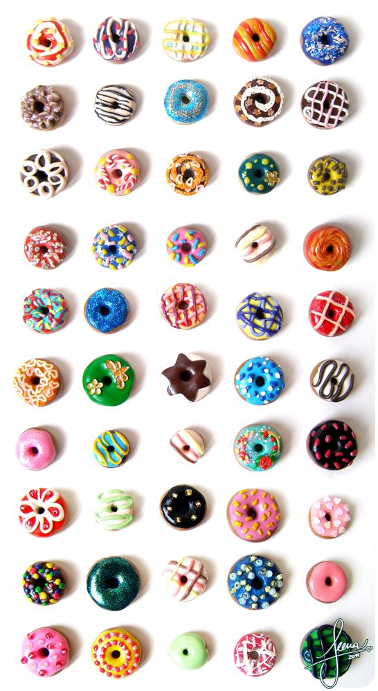 Colorful Donuts - by ~SweetDeco on deviantART. For some reason I love making miniture food! It's so small & cute!
