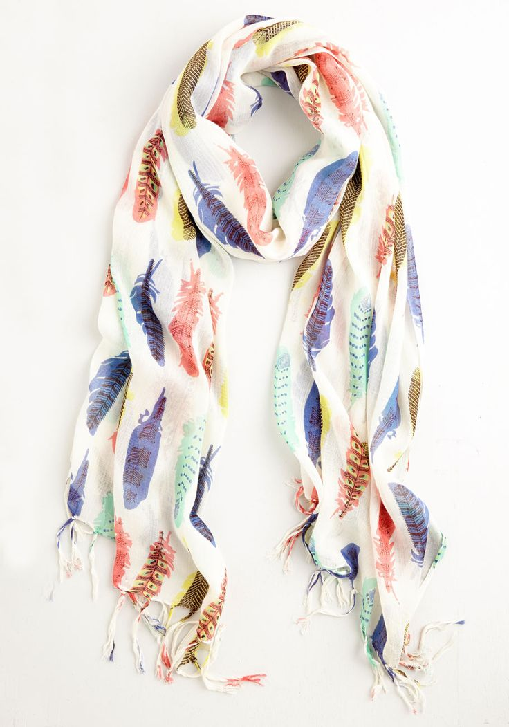 Prettiest Girl in the Plume Scarf. Even the most casual ensembles gain a little something extra when you wrap this feather-printed scarf around your neck! #white #modcloth
