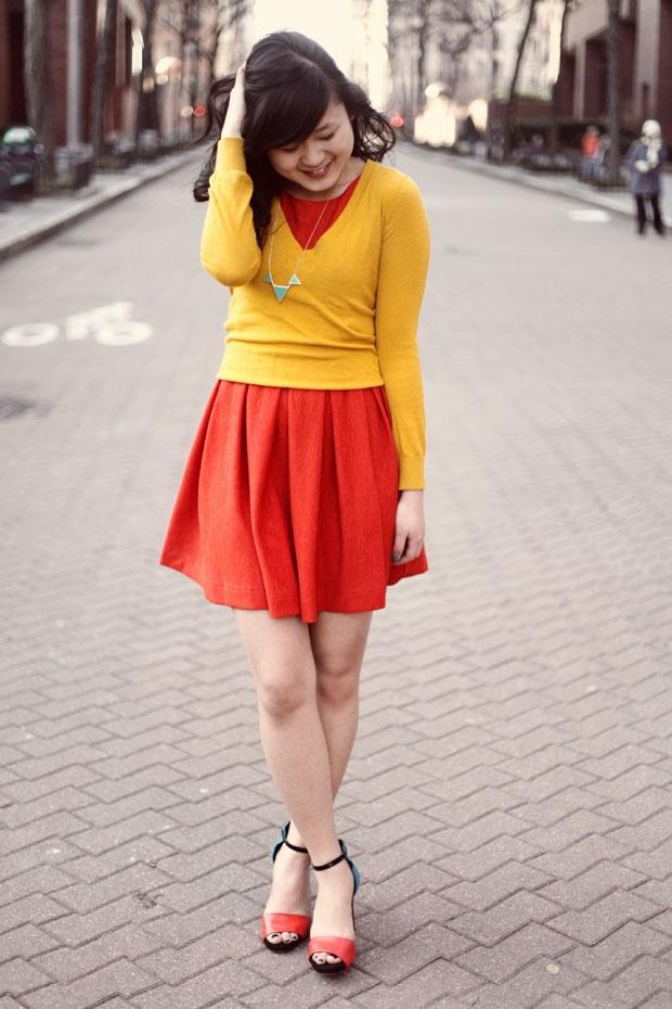 JennifHsieh #Outfit   Mustard Yellow Sweater, Red Orange ...