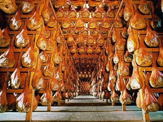 Parma - Aging of Prosciutto, Italy