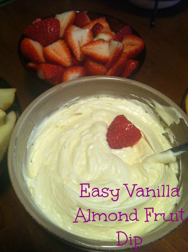 This is a great change up to all the hearty and filling apps and desserts you'll be having at holiday parties. This dip is simple, addictive, and light. I can eat it by the spoonful. Easy Vanilla Almond Fruit Dip. #recipe #appetizer #fruitdip