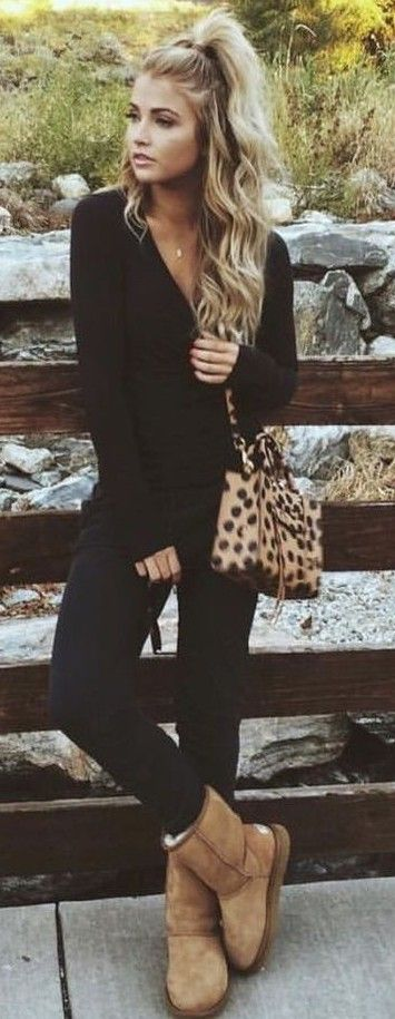 relaxed teen style. black + leopard.