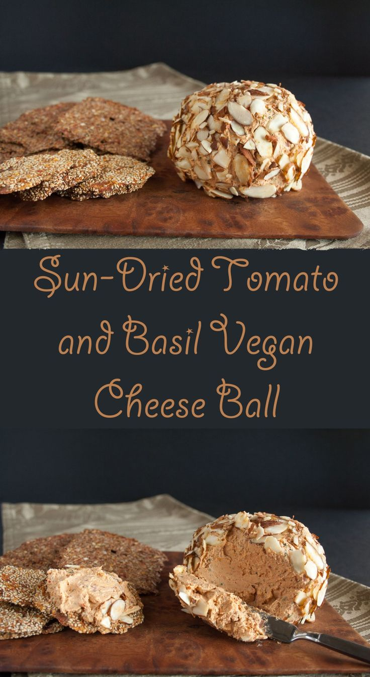 Sun-Dried Tomato and Basil Vegan Cheese Ball (gluten free) - This vegan cheese ball has only five ingredients and literally takes a few minutes to make.