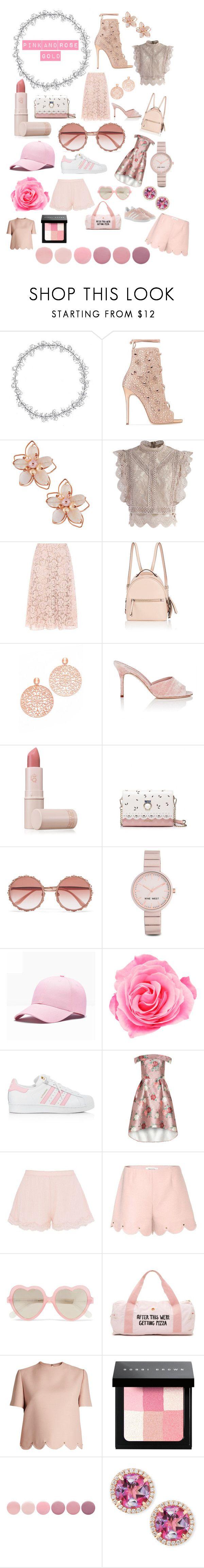 """Pink and Rose Gold"" by sunshineirwinx ❤ liked on Polyvore featuring Giuseppe Zanotti, NAKAMOL, Chicwish, Valentino, Fendi, Bronzallure, Manolo Blahnik, Lipstick Queen, Dolce&Gabbana and Nine West"