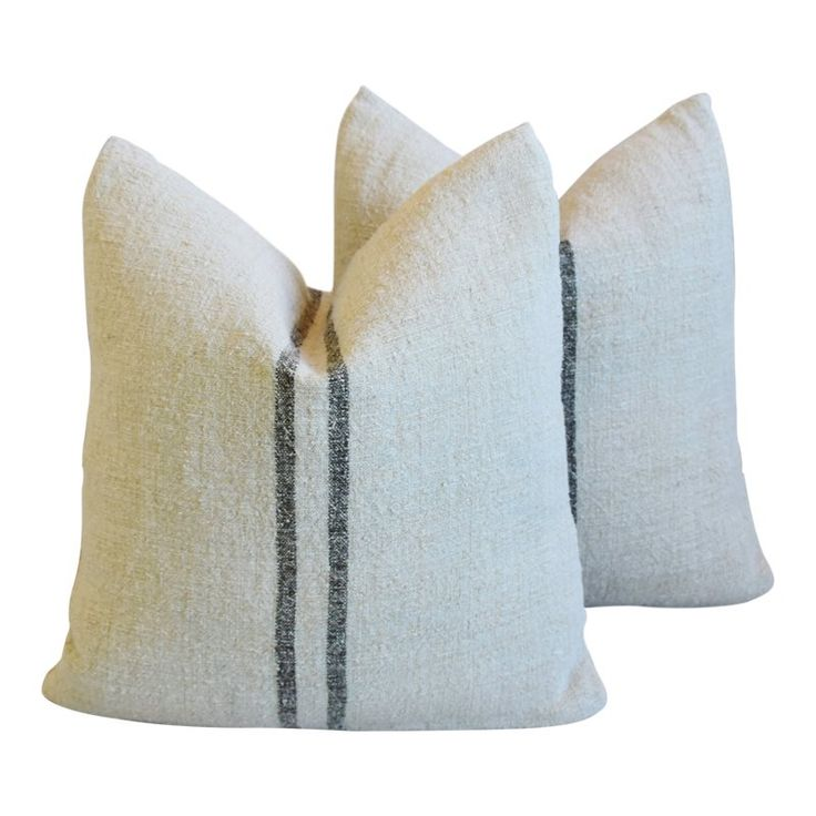 French Charcoal Black Striped Grain-Sack Pillows Feather/Down Pillows 19″ Square – Pair