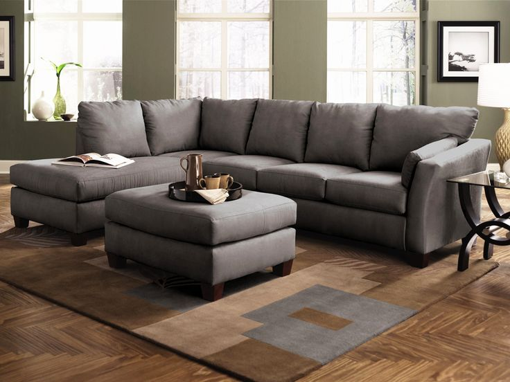 Klaussner Drew Sectional Sofa In Charcoal Microsuede With Chaise For The Home Pinterest