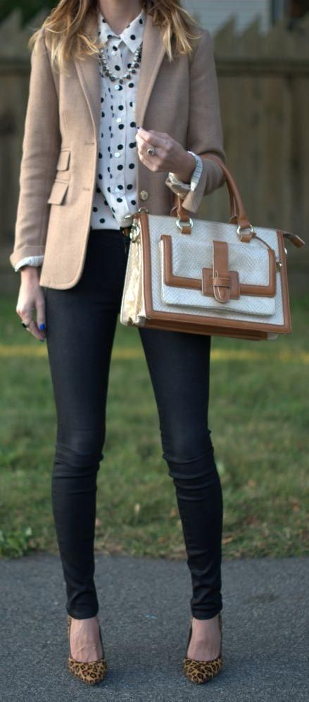 Fall / Winter - street chic style - business casual style - work outfit - office wear - casual style - black skinnies + leopard print pumps + camel blazer + cream and camel handbag + cream and navy polka dot blouse + statement pearl necklace