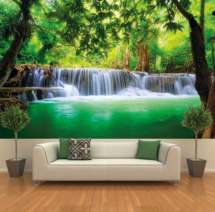 Paradise photo wall paper waterfall in the jungle for Decor mural xxl