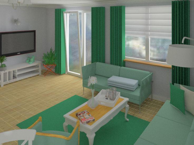 interior design green livingroom