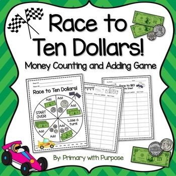 In this fun and easy-to-manage math game, students will practice using the add-on strategy to count bills and coins up to $10! It's great for math centers or review in partners or small groups. This download contains:* printable game board blackline master* printable game board in color for laminating or example* 2 score sheets to record coin values * teacher directions * student directionsSimply provide each group of students (groups of 2+) with a game board, a pencil, a paper clip, and…