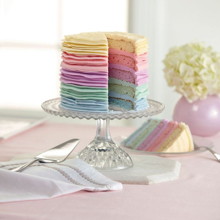 Bright pastel colors decorate every layer—cake and icing—of this beautiful cake! With the Wilton® Easy Layers™ cake pan set, it's a breeze to make a multi-colored, multi-layered cake with one cake mix. Just tint the batter with Wilton Icing Colors, bake, stack and ice