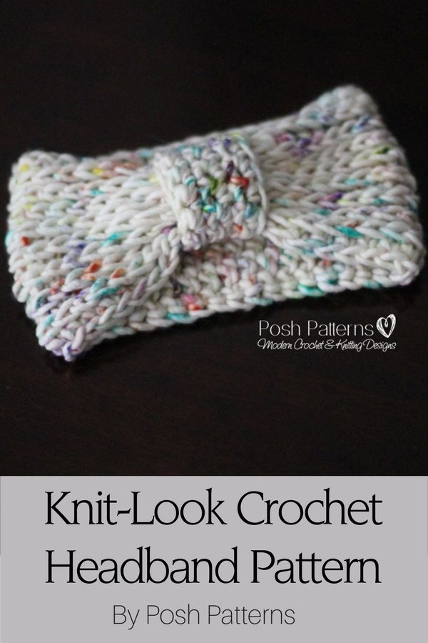 Free Crochet Pattern - An elegant cinched style headband that features a pretty knit-look stitch design. By Posh Patterns.