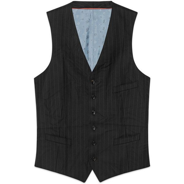 Gucci Mitford Stripe Wool Formal Vest (€1.180) ❤ liked on Polyvore featuring men's fashion, men's clothing, men's outerwear, men's vests, black, mens formal vest, mens vest outerwear, mens formal wear vests, mens wool outerwear and mens wool vest