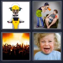 4 Fotos 1 Palabra Perro en Moto o Taladro, Gente en Fiesta, Niño Llorando, Mujer gritando a Hombre megafono. Casco amarillo - Soluciones 5 Letras