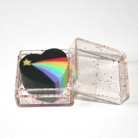 Vintage 80s Black Heart and Rainbow by BerryAnarchySupplies