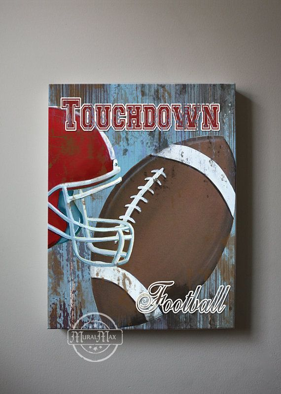 Football Canvas Art, Sports Nursery Canvas Art , Sports Nursery Decor,   Boys Room  Sports Art   12x16