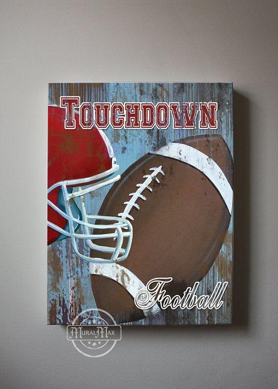 Football Canvas Art, Sports Nursery Canvas Art , Sports Nursery Decor,   Boys Room  Sports Art   12x16