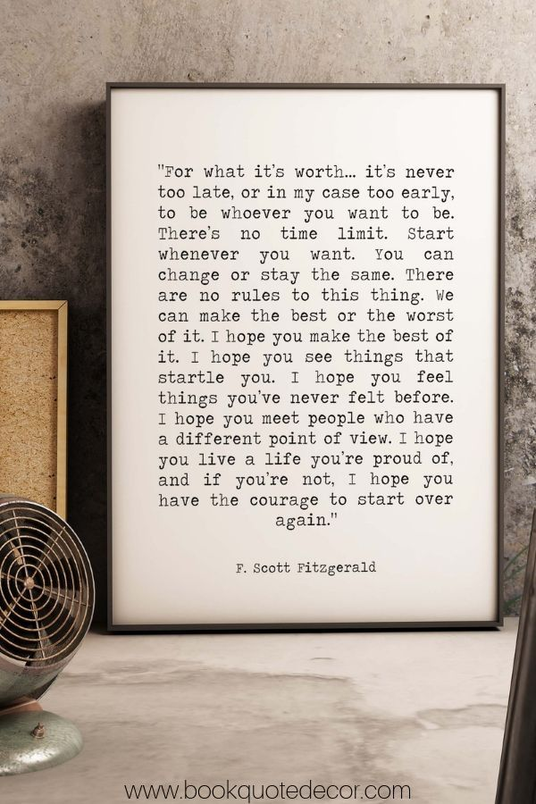 author Poster 2 Quote Wall Art Print gift f scott fitzgerald Home Decor