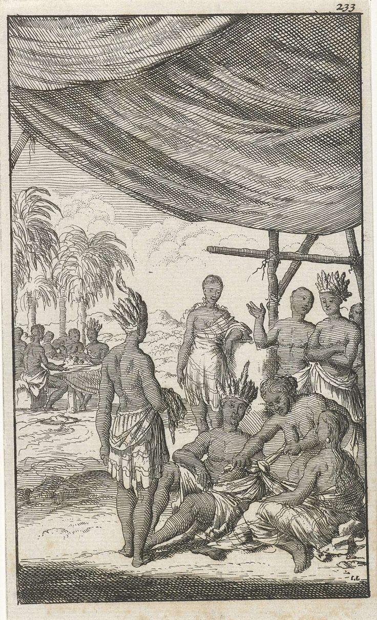 Jan Luyken | Huwelijk onder de Mexicanen, Jan Luyken, Jan Bouman, 1681 | Tijdens een Mexicaans huwelijk knoopt een vrouw de gewaden van de bruid en de bruidegom aaneen. Prent rechtsboven genummerd: 233.