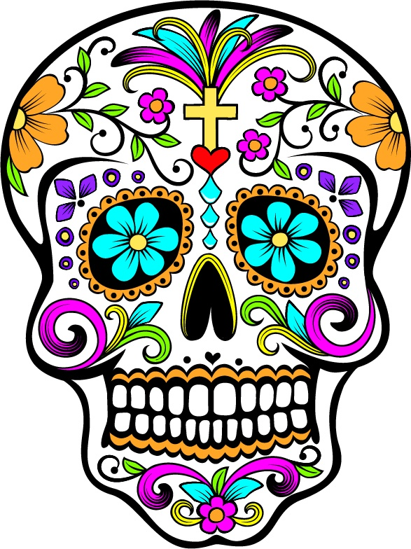 Build a wide frame for the square mirror and decorate it with this type of art for the spare room.  Sugar Skull- Dia de los Muertos. Be sure to follow our boards for more cool stuff.