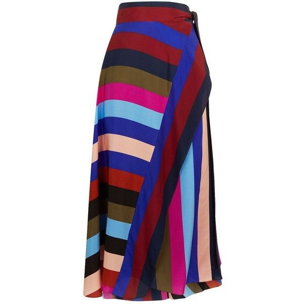 Diane von Furstenberg Striped Silk Wrap Skirt found on Polyvore featuring skirts, mid-calf skirts, wrap midi skirt, blue wrap skirt, patterned midi skirt and striped skirts