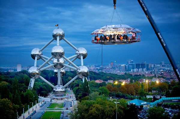 i'll have dinner in the sky one day.: Food Festivals, Buckets Lists, Sky, Brussels Belgium, Ice Castles, Cond Nast Travel, Wonder Places, Dinners Parties, Hanging Restaurant