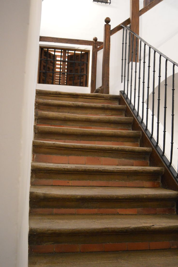 Stairs in the Casa de Lope de Vega in Madrid, Spain. This house has been preserved from the 1600s.