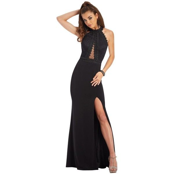 Clarisse 3446  Long High Neckline Sleeveless ($397) ❤ liked on Polyvore featuring dresses, black, formal dresses, halter neck long dress, halter top formal dress, halter top, high-neck dresses and high neck sleeveless dress