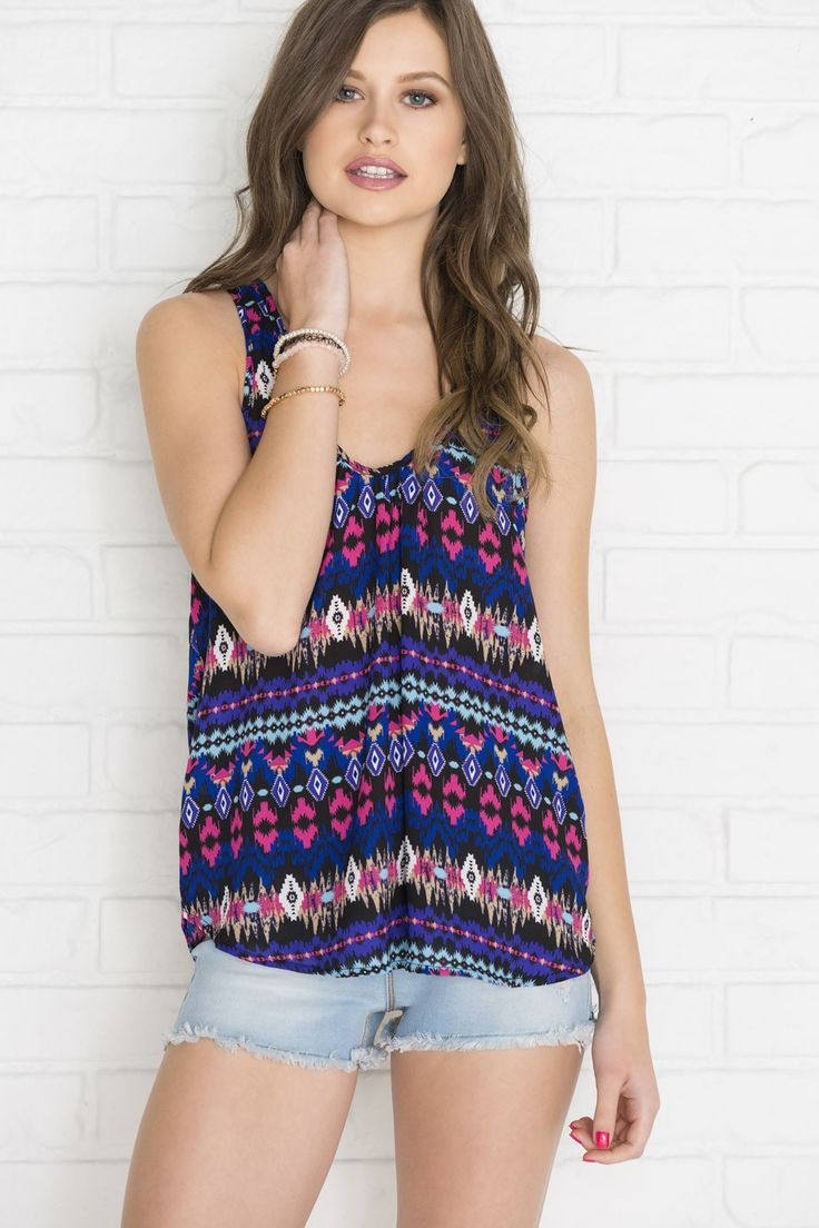 Fuchsia & purple print babydoll tank with bow back - New Arrivals | Ardene Official Online Store