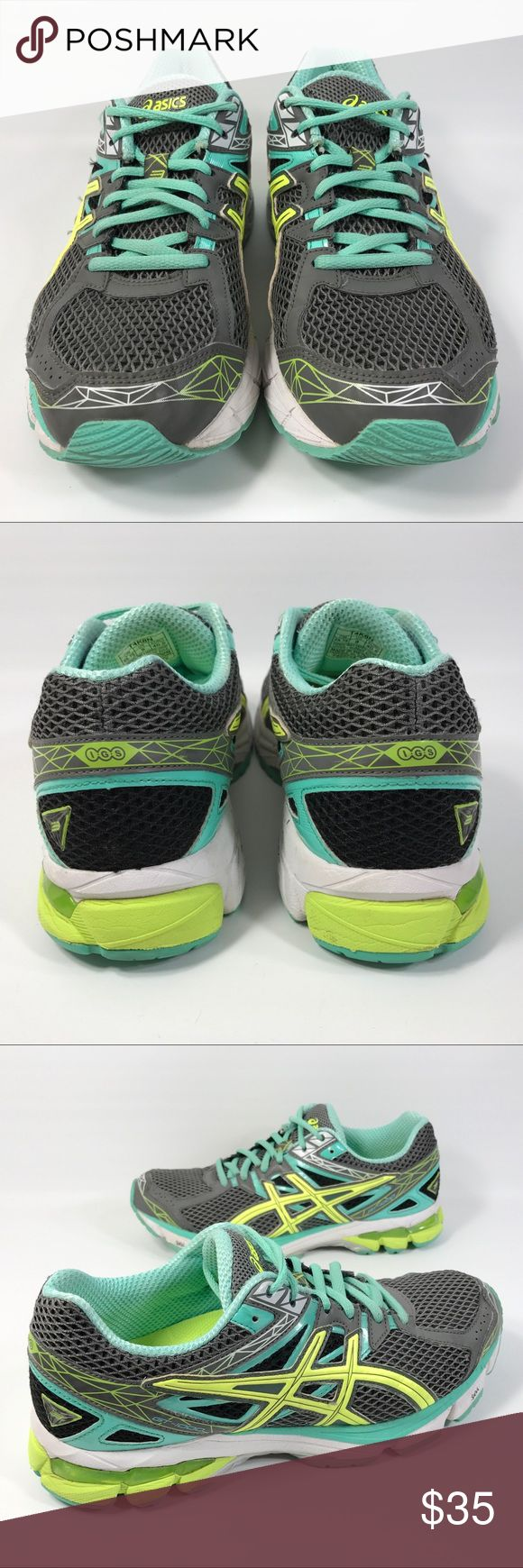 ASICS GT 1000 Running Athletic Shoe Mint green/blue/grey/yellow. Very good preowned condition with normal signs of light use. No major flaws or imperfections. Some light wear, scuffs or scratches to the uppers, soles and mid-soles. A few very minor gouges on the midsole. All wear is typical of gently worn/preowned footwear. See photos as a visual description of the item. Asics Shoes Athletic Shoes