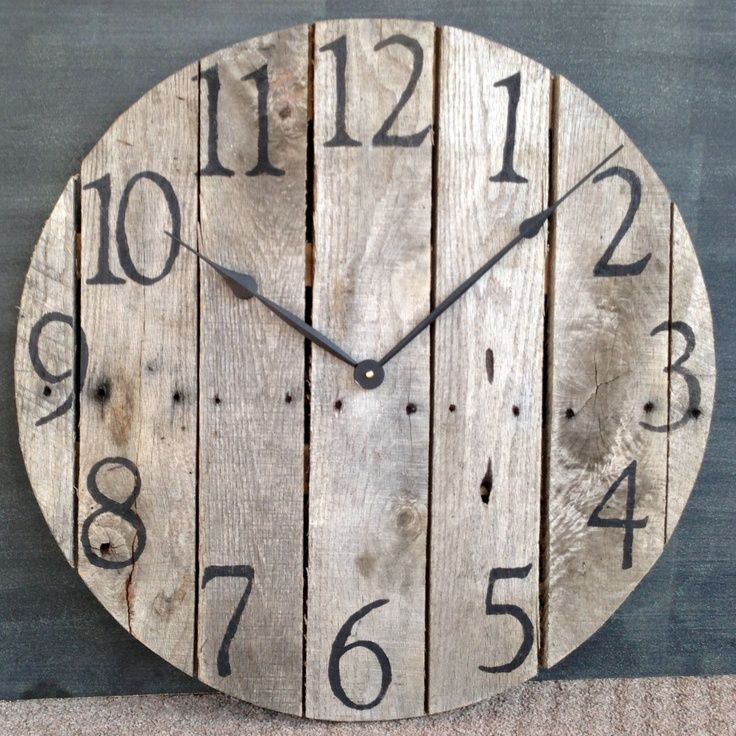 Large Rustic Pallet Wood Wall Clock. $100.00, via Etsy. I want this!!!!
