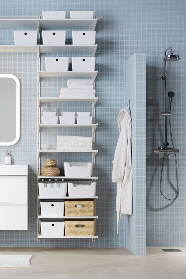 From IKEA open storage to sink cabinets to boxes and baskets find what you need to create a place for everything in your bathroom